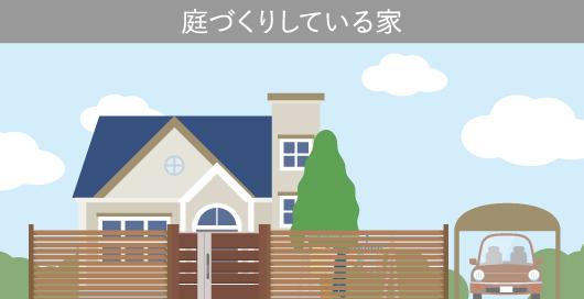 庭づくりしている家